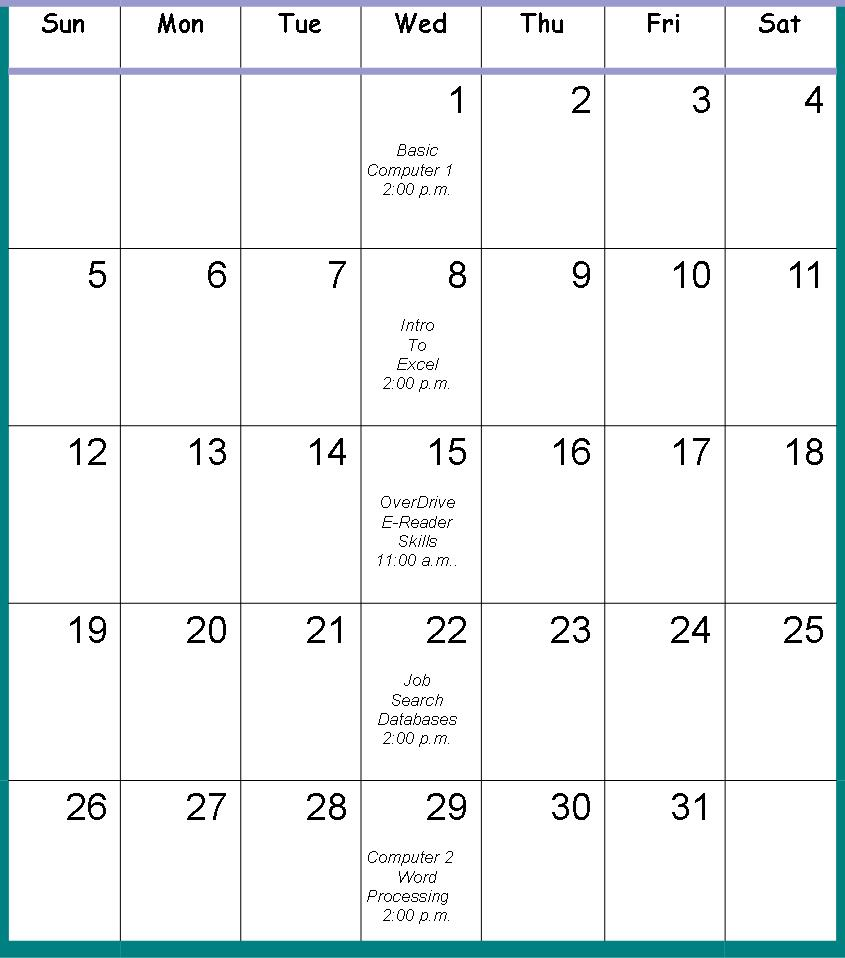 Calendar for Computer Classes May 2013